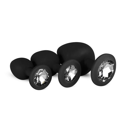 Siliconen Buttplug Met Diamant - Zwart - Easytoys Anal Collection
