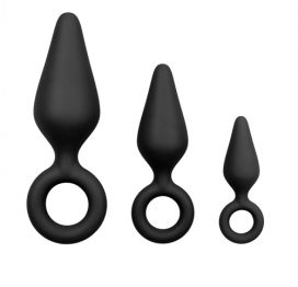 Zwarte buttplugs met trekring - setje - Easytoys Anal Collection
