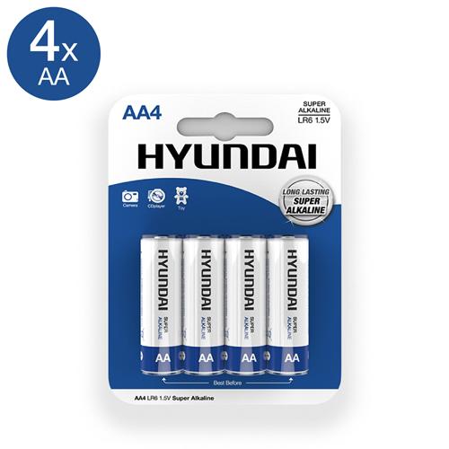 Super Alkaline AA-Batterijen - 4 Stuks - Hyundai